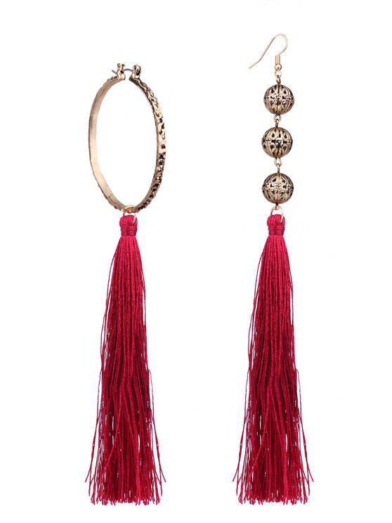 f94978642 11% OFF] 2019 Asymmetric Circle Beaded Tassel Earrings In DEEP RED ...