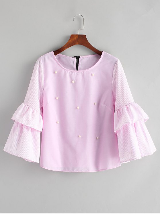 outfit Striped Tiered Sleeve Beading Blouse - PINKISH PURPLE L