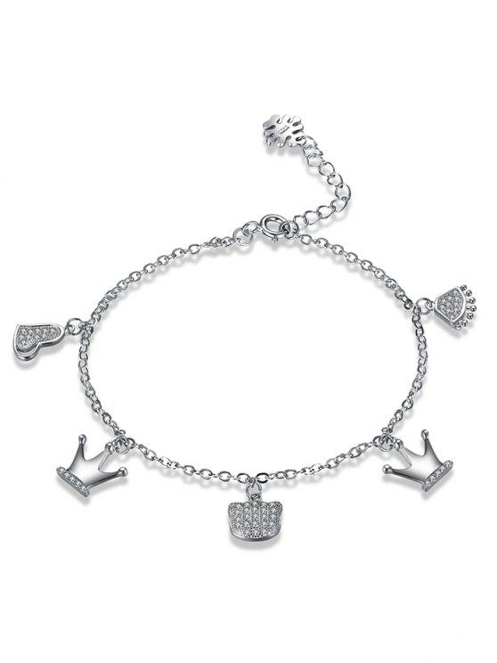 affordable Sterling Silver Rhinestone Crown Heart Charm Bracelet - SILVER