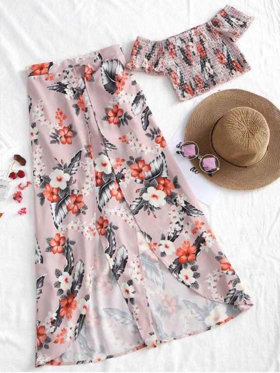 shop Off Shoulder Shirred Top and Asymmetrical Skirt Set - FLORAL S