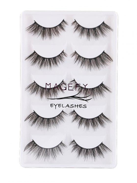 fashion 5Pcs Natural Thick Handmade Fake Eyelashes Kit - BLACK