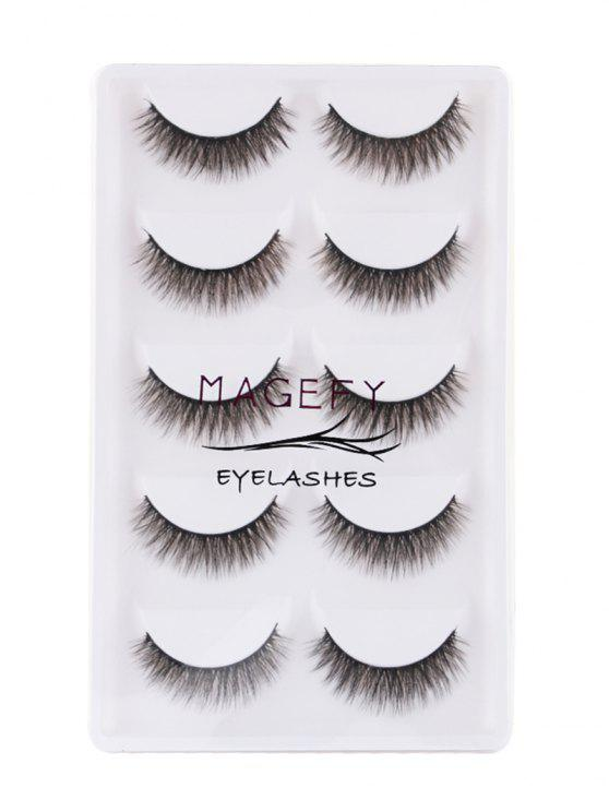 5 Pcs Natural Looking Volumizing Mink Falso Eyelashes - Preto