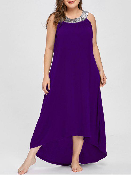 فستان الحجم الكبير بلا أكمام - أرجواني 4XL