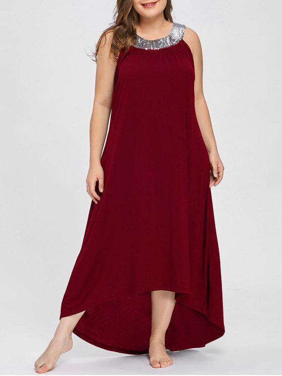 الترتر طوق أكمام بالاضافة الى حجم فستان ماكسي - نبيذ أحمر 2XL