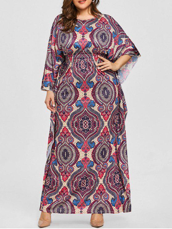 فستان الحجم الكبير طباعة - أرجواني 3XL