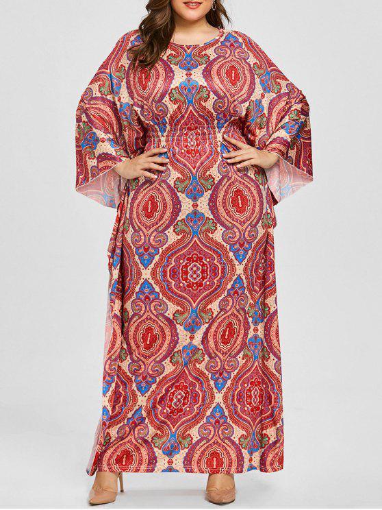 فستان الحجم الكبير طباعة - زهري 2XL