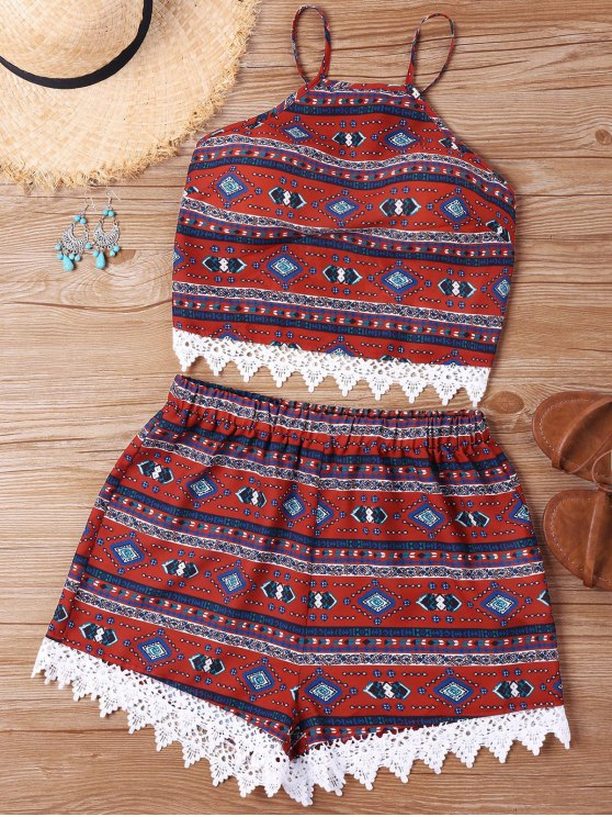 outfit Print Crochet Insert Shorts Two Piece Set - WINE RED S