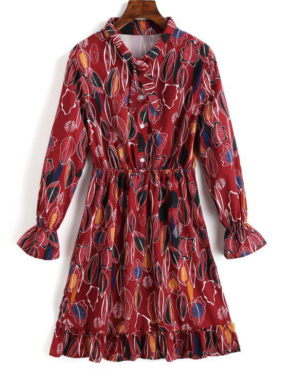 فستان شيرت طباعة الأوراق بنصف الزر كشكش - أحمر غامق S