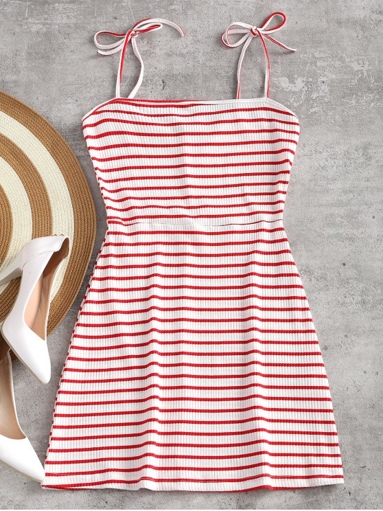 lady Knitted Ribbed Slip Mini Dress - RED WITH WHITE S