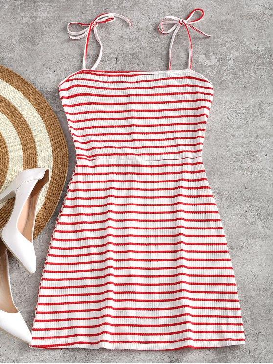 Robe Courte en Maille Côtelée - Rouge et Blanc S