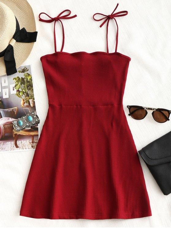 buy Knitted Ribbed Slip Mini Dress - RED M