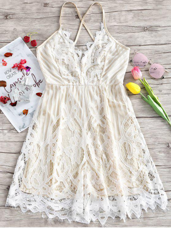 women Lace Scalloped Criss Cross Slip Dress - WHITE M