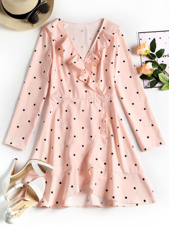 affordable Plunging Neck Ruffles Polka Dot Dress - PINK L
