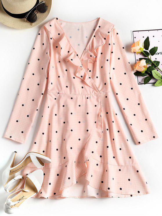 womens Plunging Neck Ruffles Polka Dot Dress - PINK S