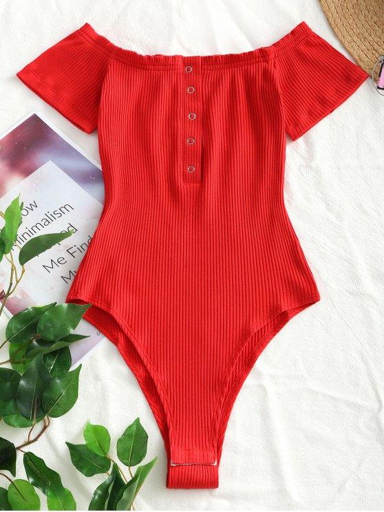 Botão de malha de malha de ombro Bodysuit - Vermelho M