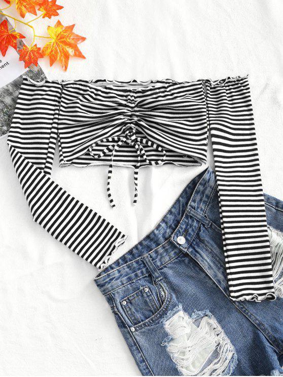 Tricoté Rassemblé Top épaule - Blanc et Noir Taille Unique
