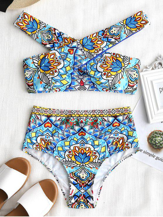new Mandala Print Crossover High Waisted Bikini Set - COLORMIX L