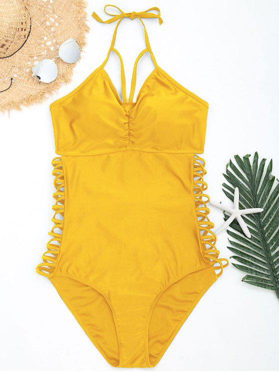 5782537a40c11 32% OFF] 2019 Halter Strappy Plus Size Swimsuit In YELLOW | ZAFUL