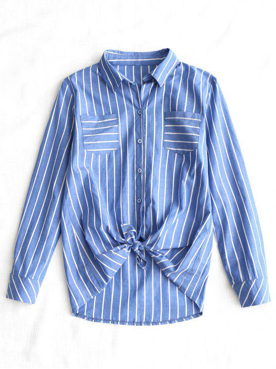 trendy Self Tie Hem Striped Pocket Shirt - BLUE L