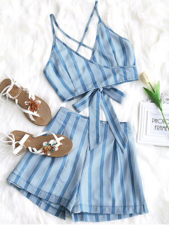 affordable Criss Cross Stripes Top and High Waisted Shorts Set - WINDSOR BLUE M