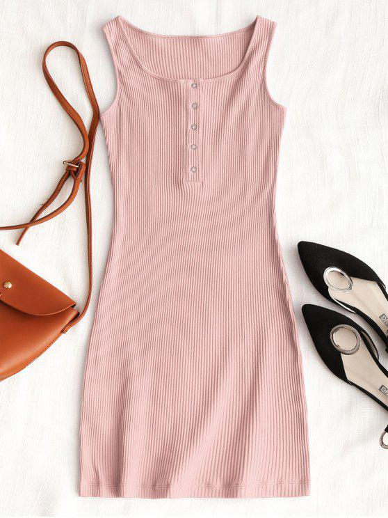 shops Knitted Snap Button Ribbed Bodycon Dress - PINK M