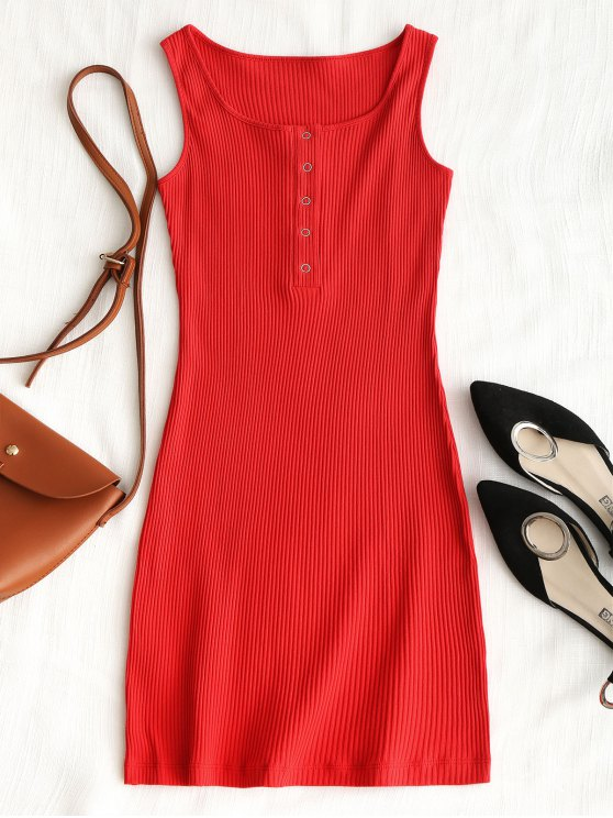 outfits Knitted Snap Button Ribbed Bodycon Dress - RED M