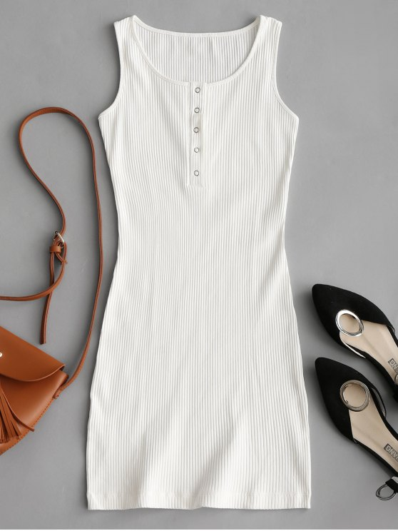 outfit Knitted Snap Button Ribbed Bodycon Dress - WHITE S