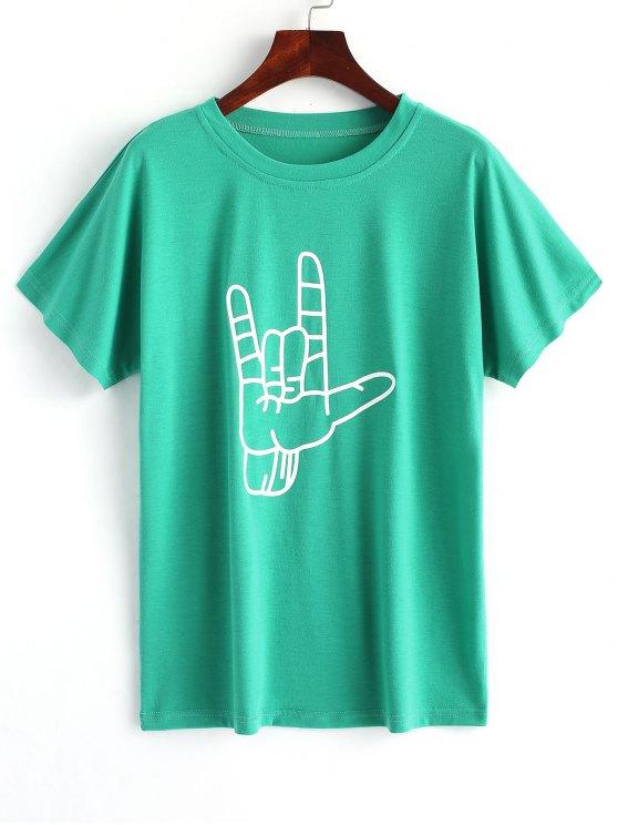 تيشيرت مزين بطبعة يد - أخضر XL