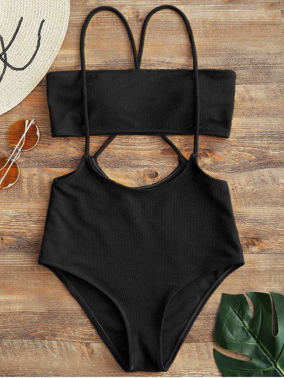 womens Bandeau Top and High Waisted Slip Bikini Bottoms - BLACK M