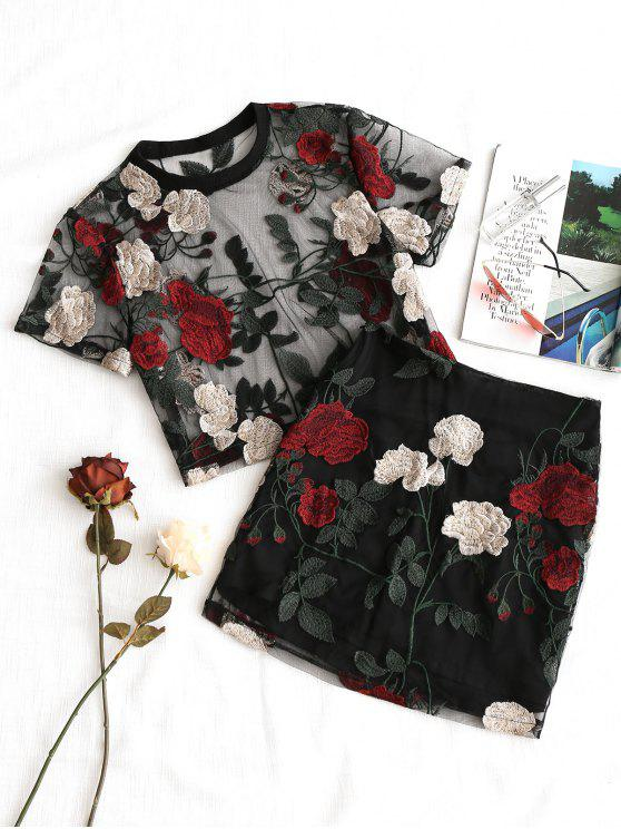chic Floral Embroidered Mesh Blouse and Skirt Set - BLACK S