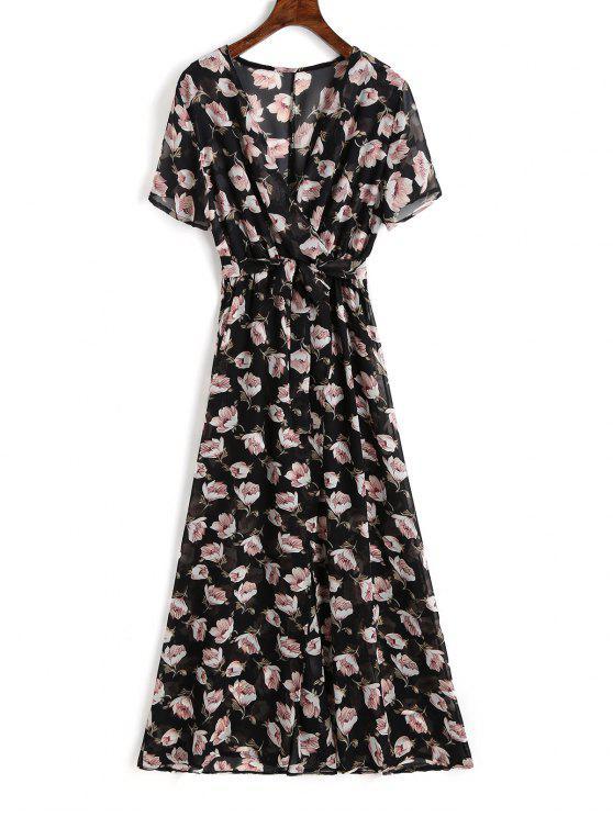 فستان ماكسي طباعة الأزهار شيفون انقسام - الأزهار M