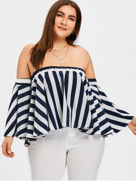 Blusa listrada de tamanho grande fora do tamanho - Listras 5XL
