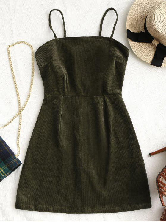 women's Back Zipper Corduroy Mini Dress - ARMY GREEN M
