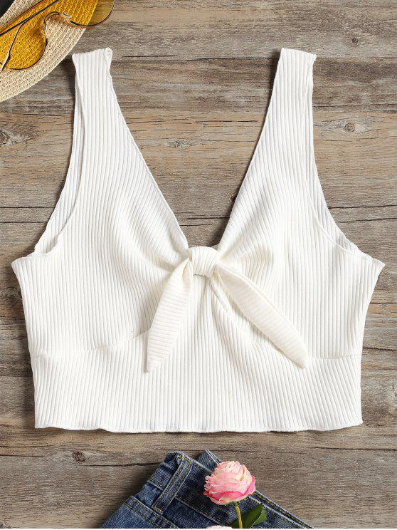 new Plunging Neck Ribbed Crop Tank Top - WHITE S