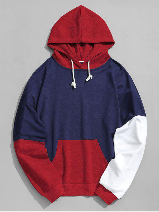 lady Pouch Pocket Color Block Hoodie Men Clothes - RED M
