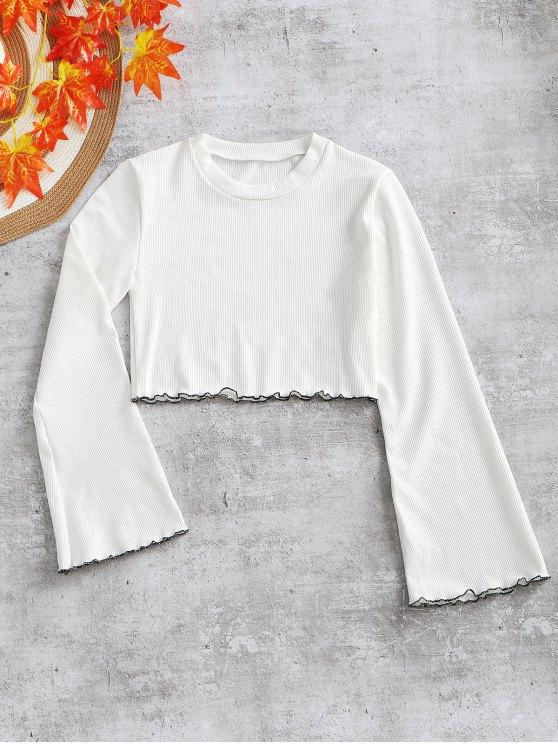 Trim Flared Knitted Trim Top - Branco M