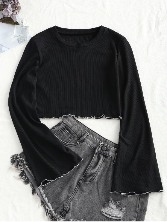 unique Knitted Flared Sleeve Lettuce Trim Top - BLACK S