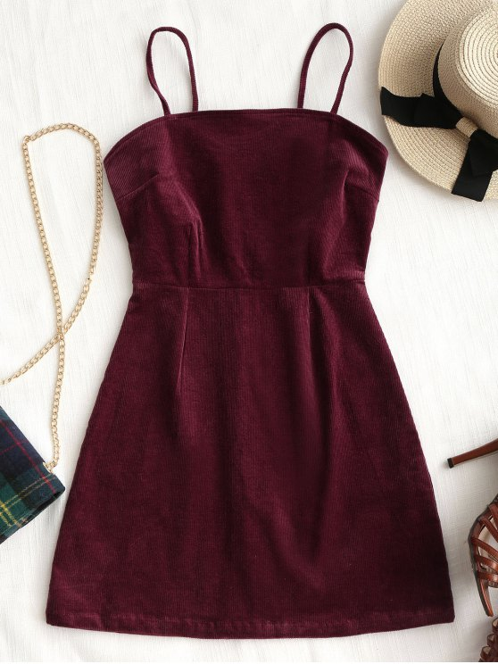 outfit Back Zipper Corduroy Mini Dress - WINE RED M