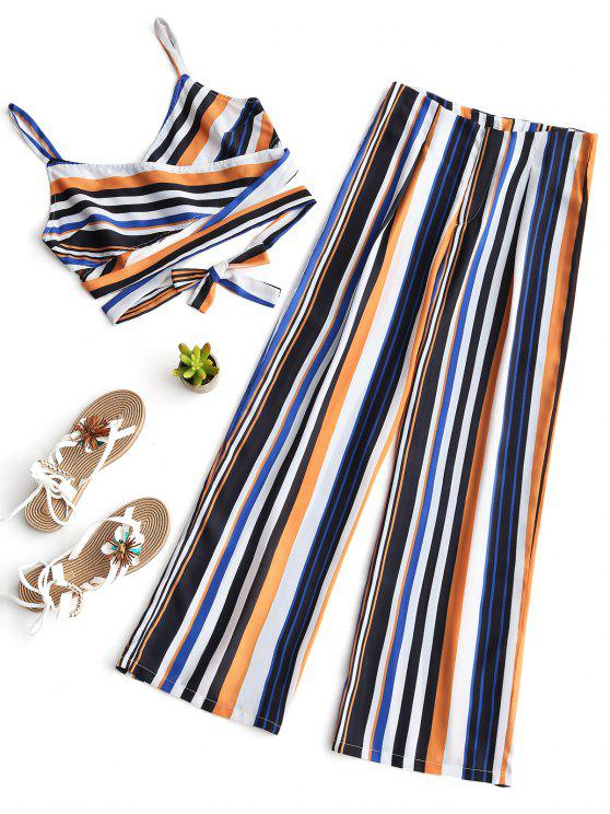outfits Stripes Cross Over Top and Wide Leg Pants Set - STRIPE M