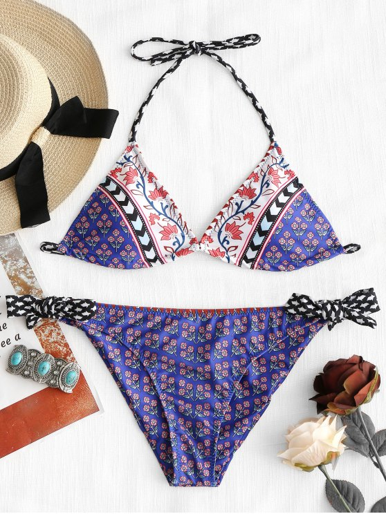 women Wildflower Halter Bikini Set - PURPLE L