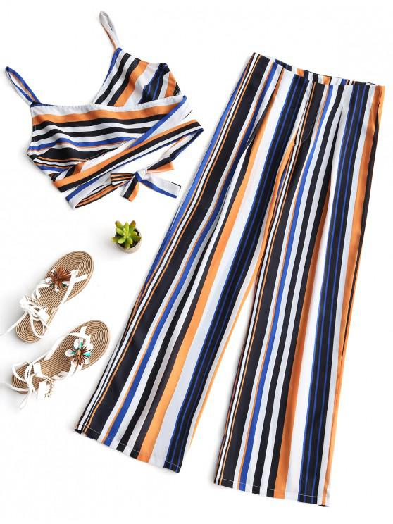 outfit Stripes Cross Over Top and Wide Leg Pants Set - STRIPE S