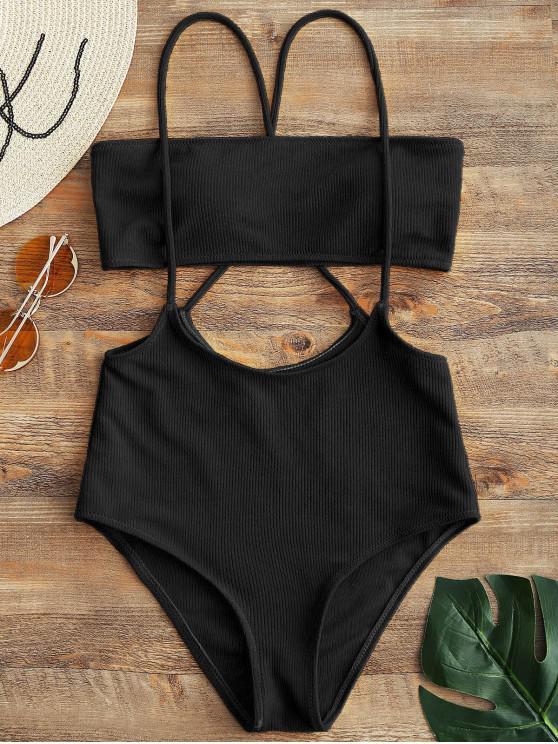 Bandeau Top y Bikini de cintura alta con cordones inferiores - Negro XL