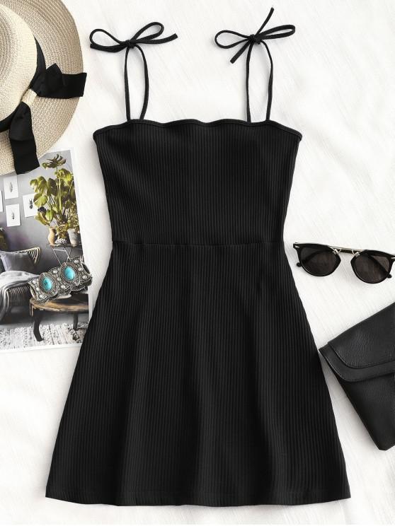 women Knitted Ribbed Slip Mini Dress - BLACK M
