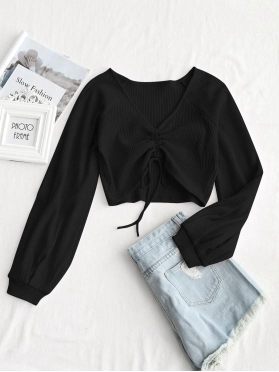outfit Textured Knitted Gathered Top - BLACK L