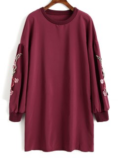 Floral Applique Tunic Sweatshirt - Wine Red L