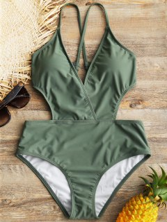 Crisscross Padded Surplice One Piece Swimwear - Green Xl