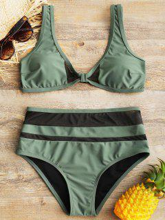 Sheer Mesh Insert High Waisted Bathing Suit - Green L