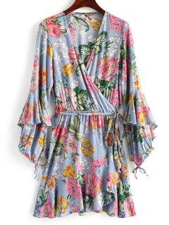 Frilled Floral Wrap Mini Dress - Stone Blue L