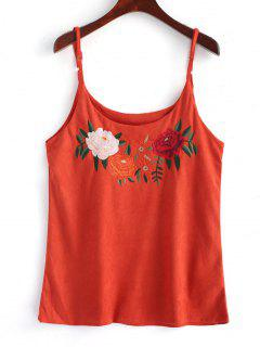 Floral Embroidered Faux Suede Tank Top - Jacinth S