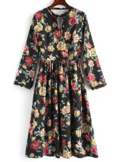 Long Sleeve Floral Cut Out Midi Dress - Floral M